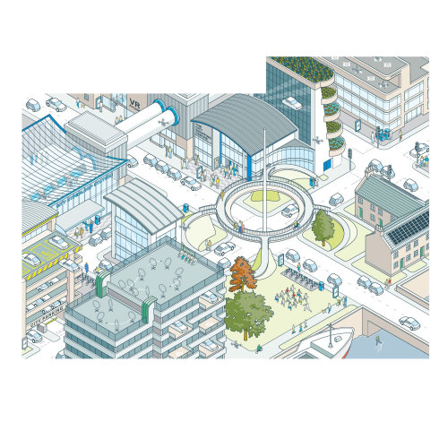 Vector architecture illustration of central city