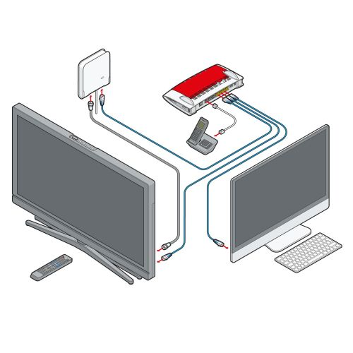 Technical illustration of internet connection