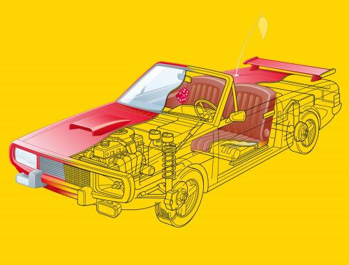 Vector art of car interior parts