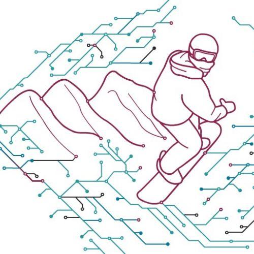 Snowboard circuit Gif animation