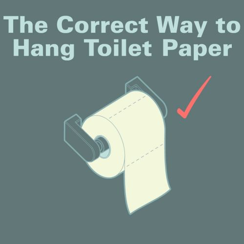 Gif animation of correct way to hang toilet paper