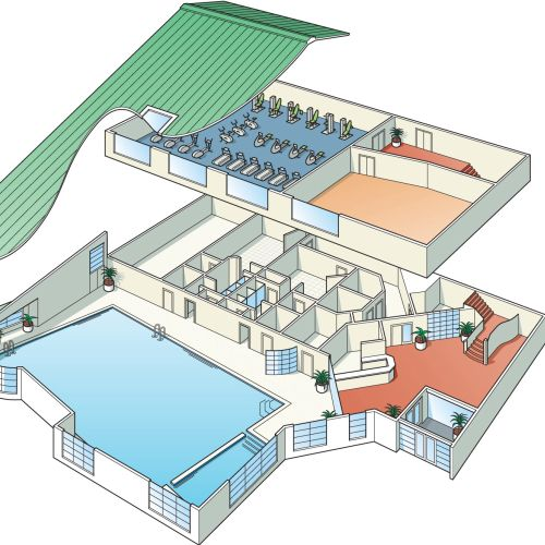 Architecture cutaway gym, building