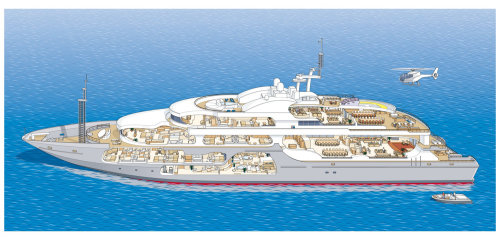 Cutaway ship illustration by Mark Watkinson