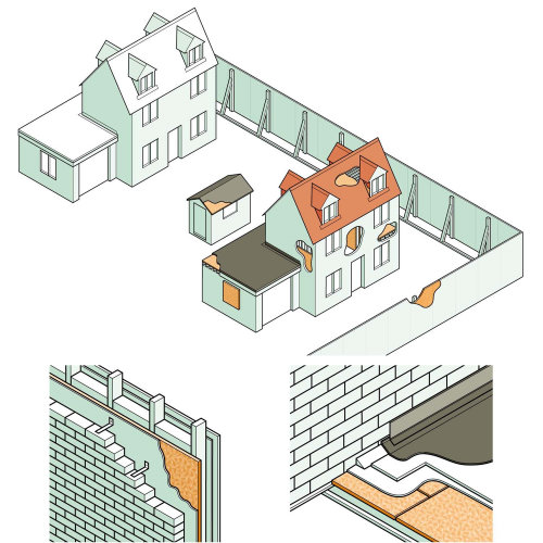Infographic illustration of timber bricks