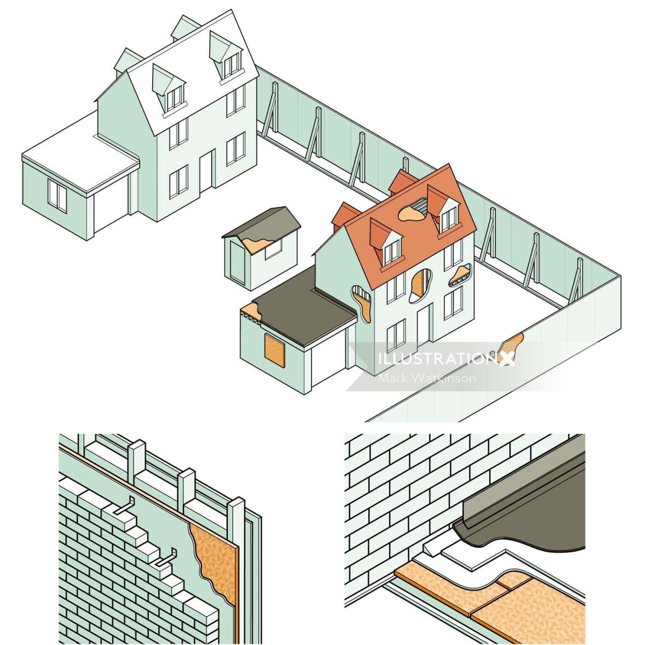 Infographic illustration of timber bricks