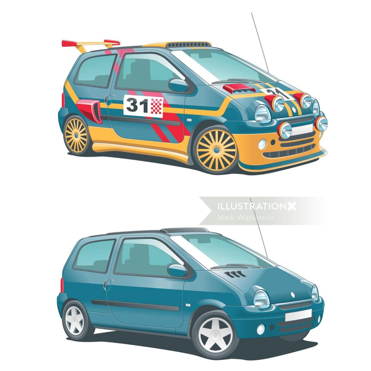 Illustration of car rally web