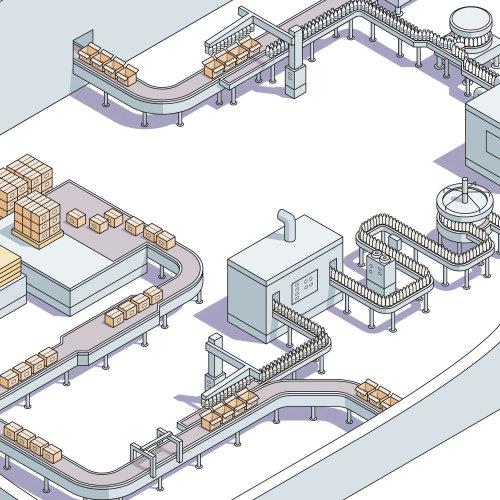 Milk factory vector illustration