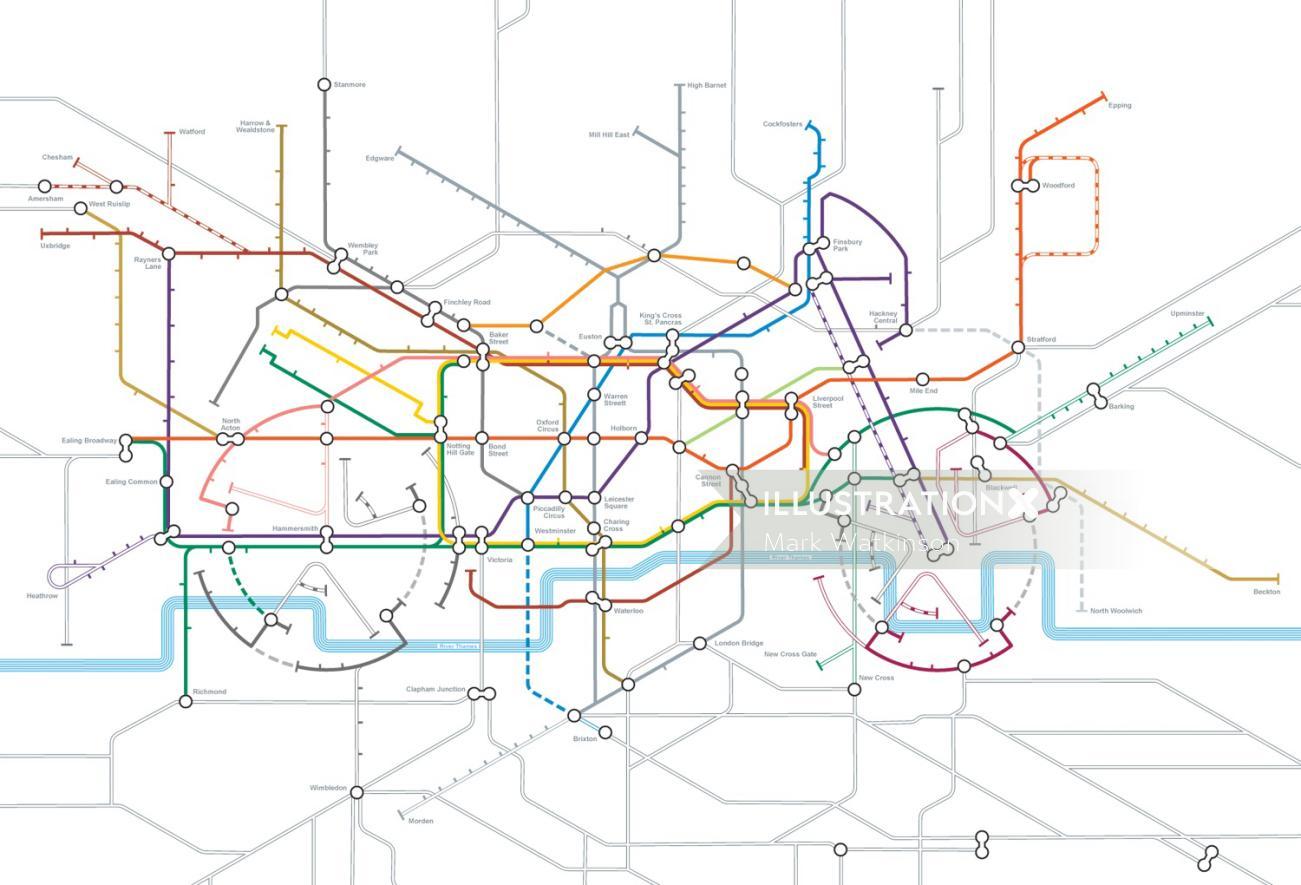 Technical illustration of motorbike diagram