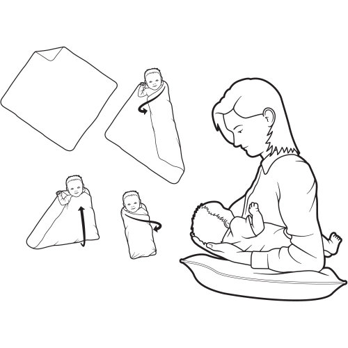 Line illustration of mother feeding baby