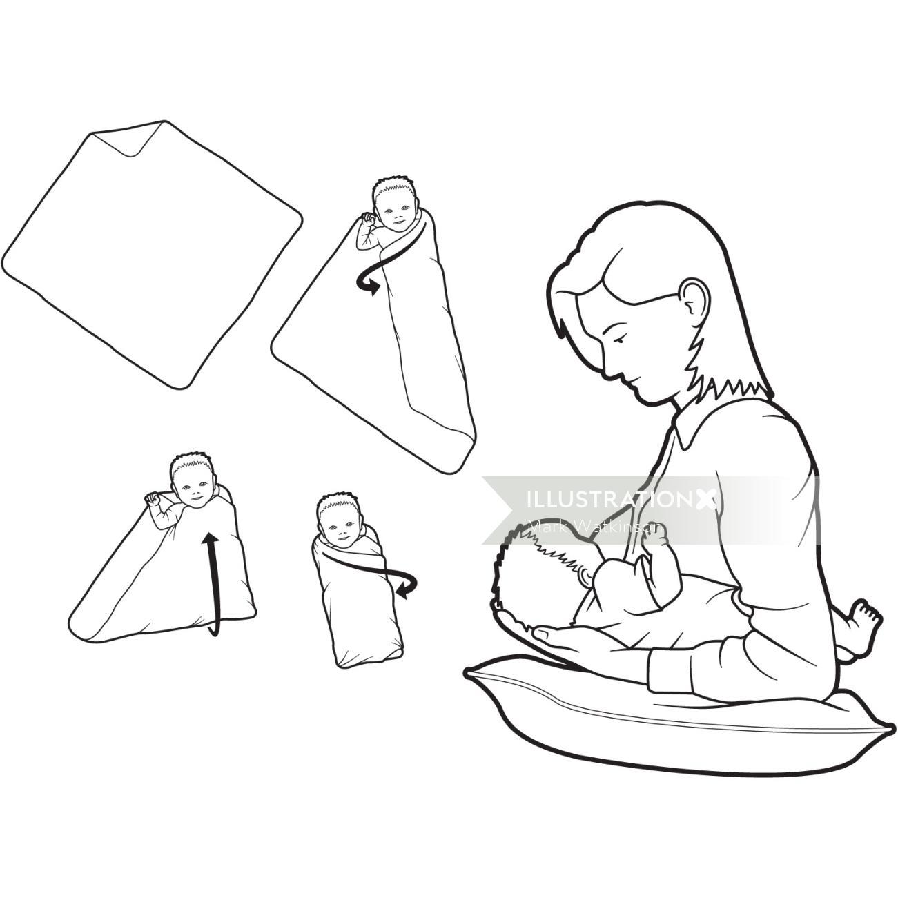 Line illustration of mother feeding baby