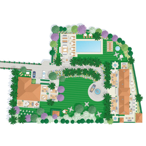 Graphic design of garden planing