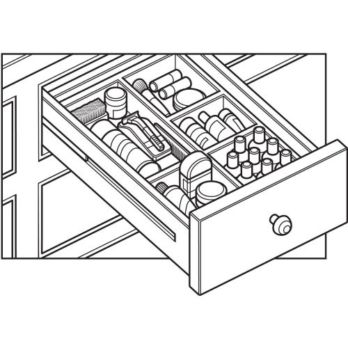 Line drawing of razor drawer toiletries