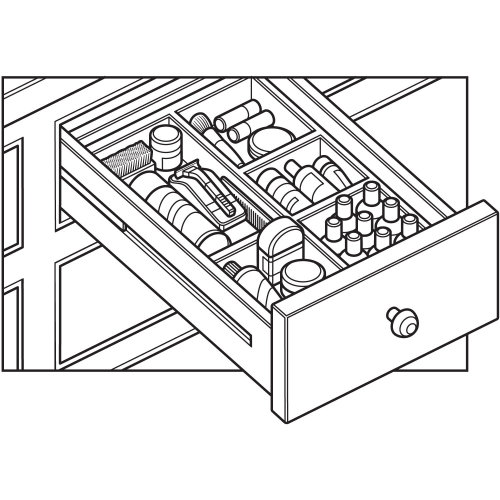 Line drawing of razor drawer toiletries