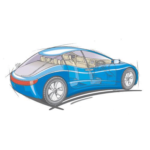 car pencil line artistic impression technical