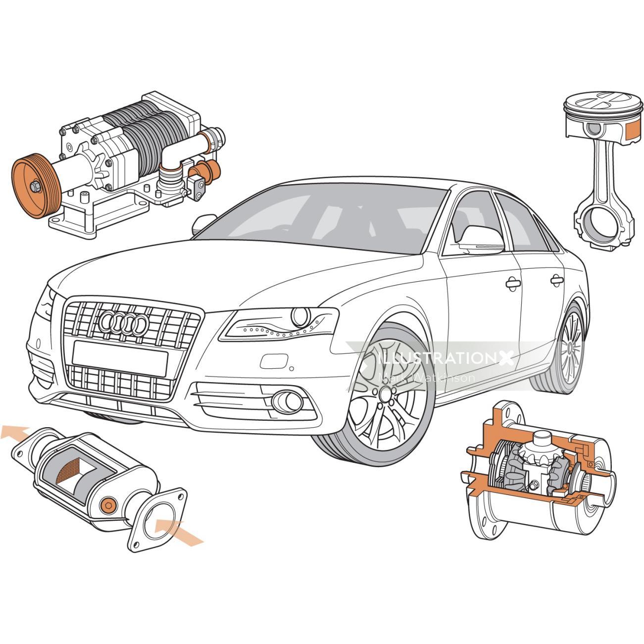 Technical illustration of car automobile