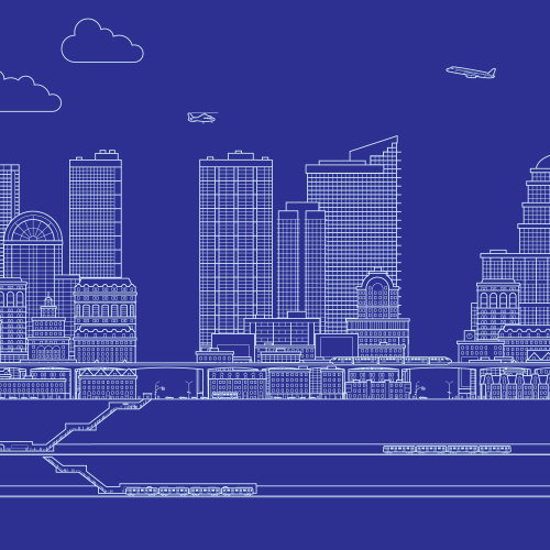 Infographic illustration of city blue print