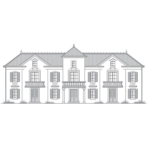 Line drawing of chateau France building