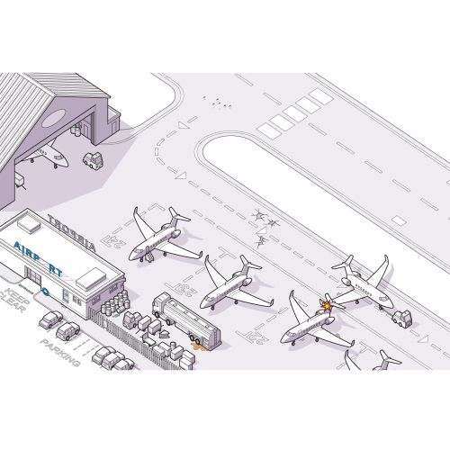 airport aeroplanes safety line illustration