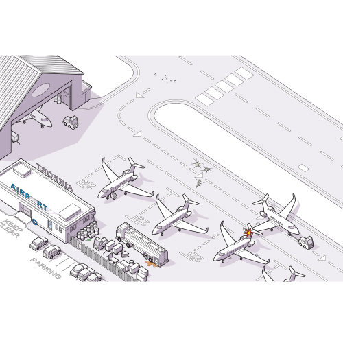 airport aeroplanes safety line illustration
