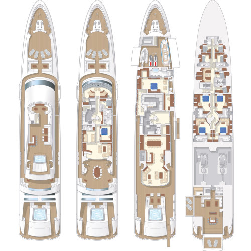 Architecture plan of yacht boat ship floor
