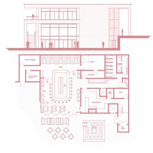 Building blueprint architecture illustration