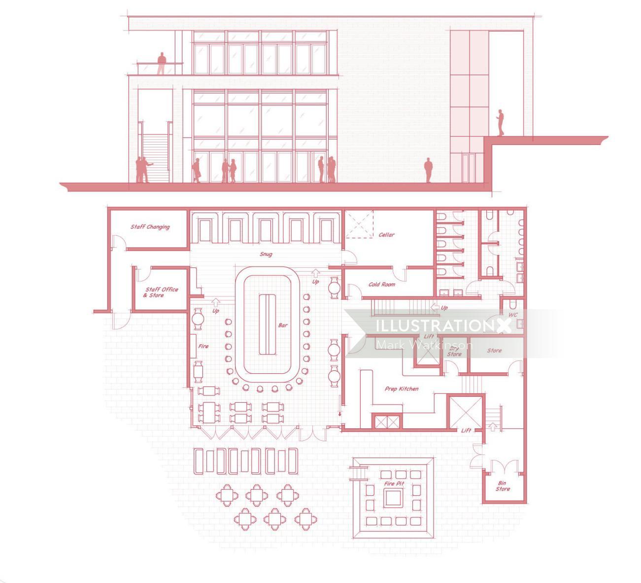 Building blueprint architecture illustration