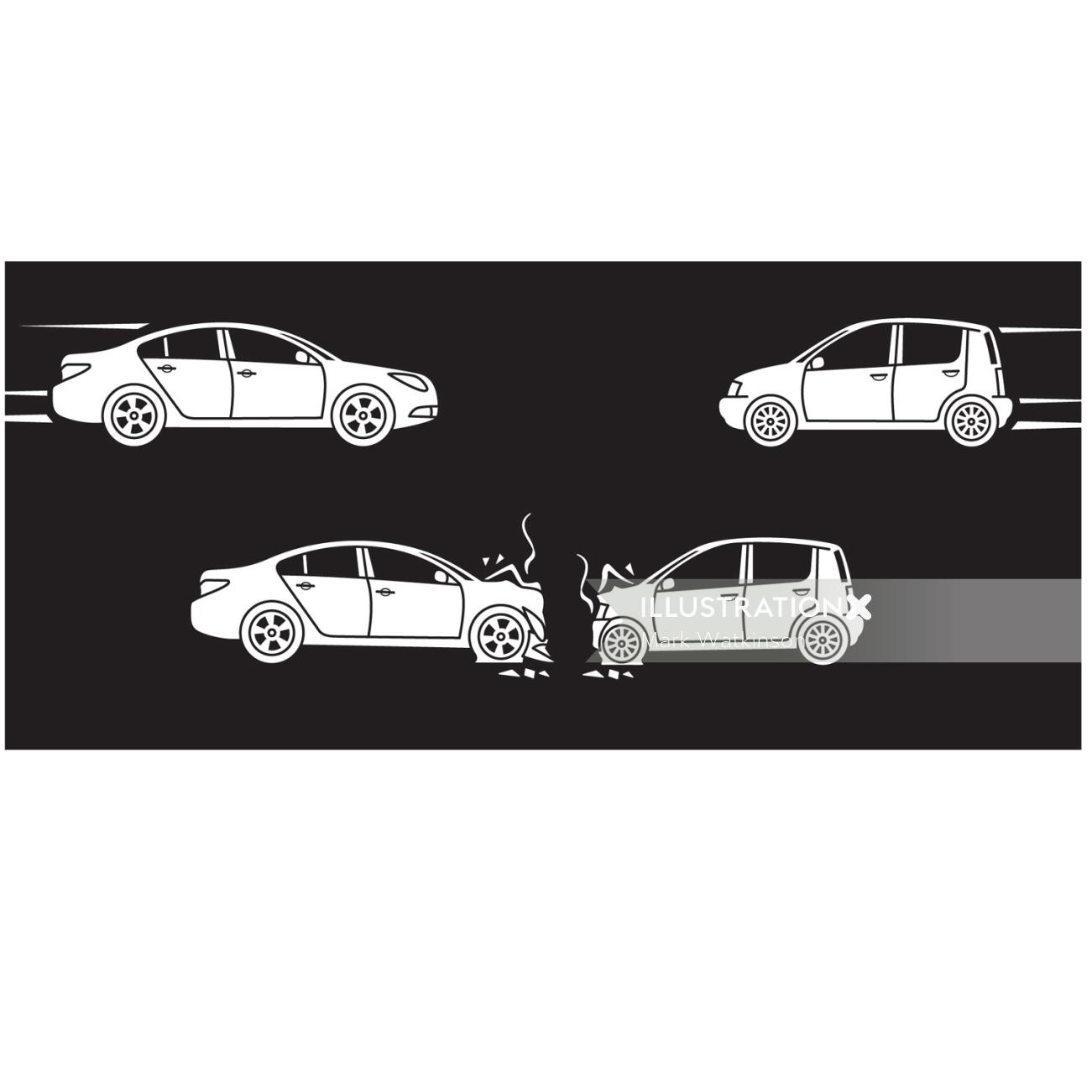 Crashed Cars transport graphic