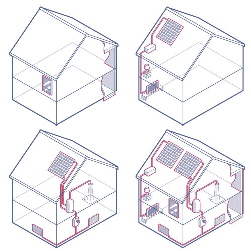 Solar powered house architecture illustration