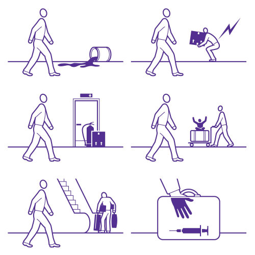 Line illustration of airport safety rules