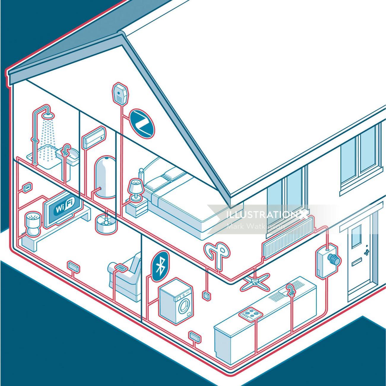 House underground system vector illustration