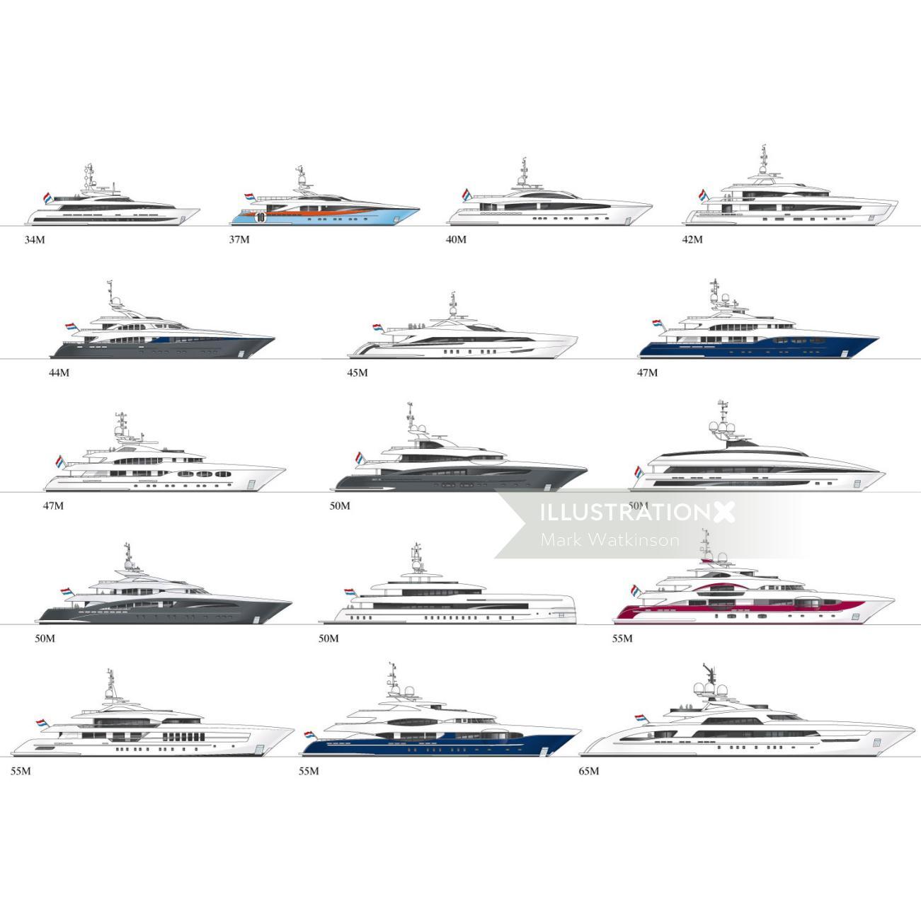 Illustration of ships