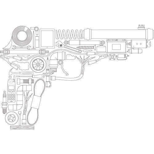 Black and white illustration of gun architecture