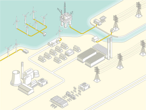Vector illustration of industrial area