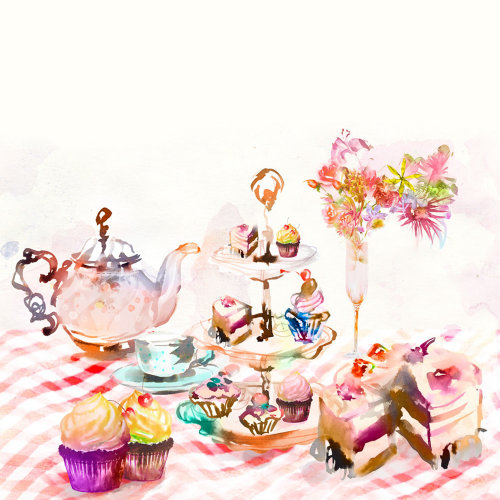 Garden tea party watercolor drawing