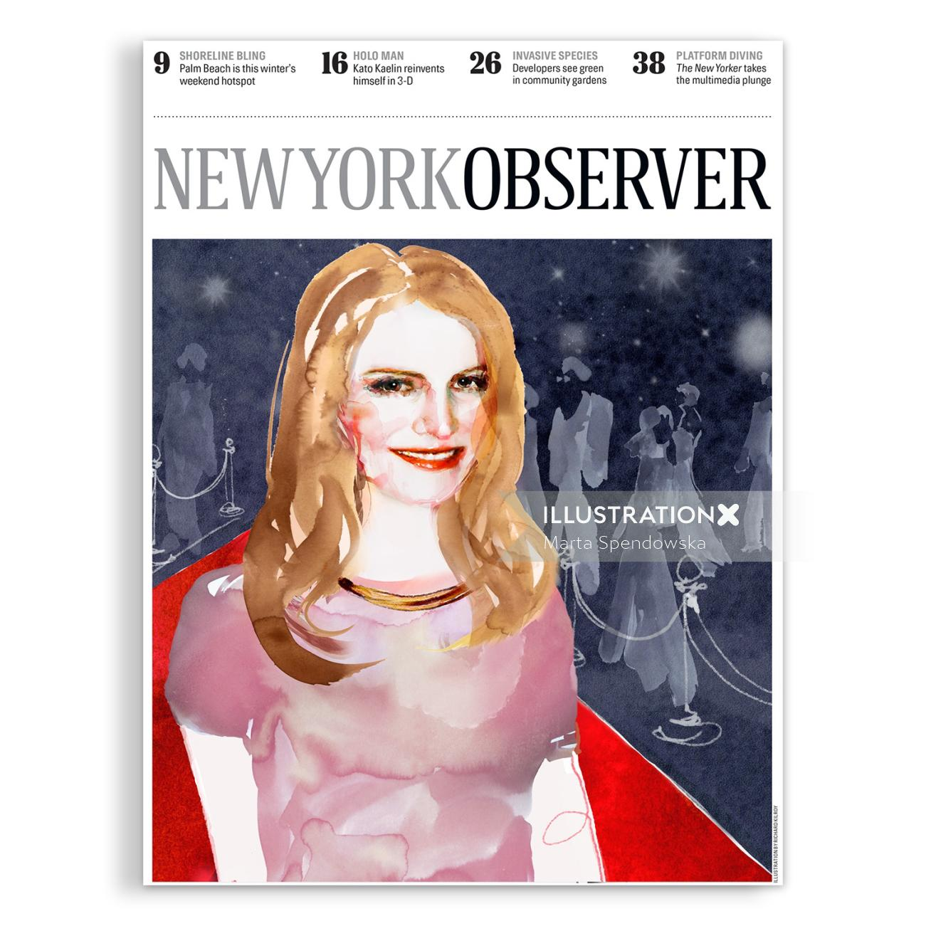 Editorial illustration of newyork observer