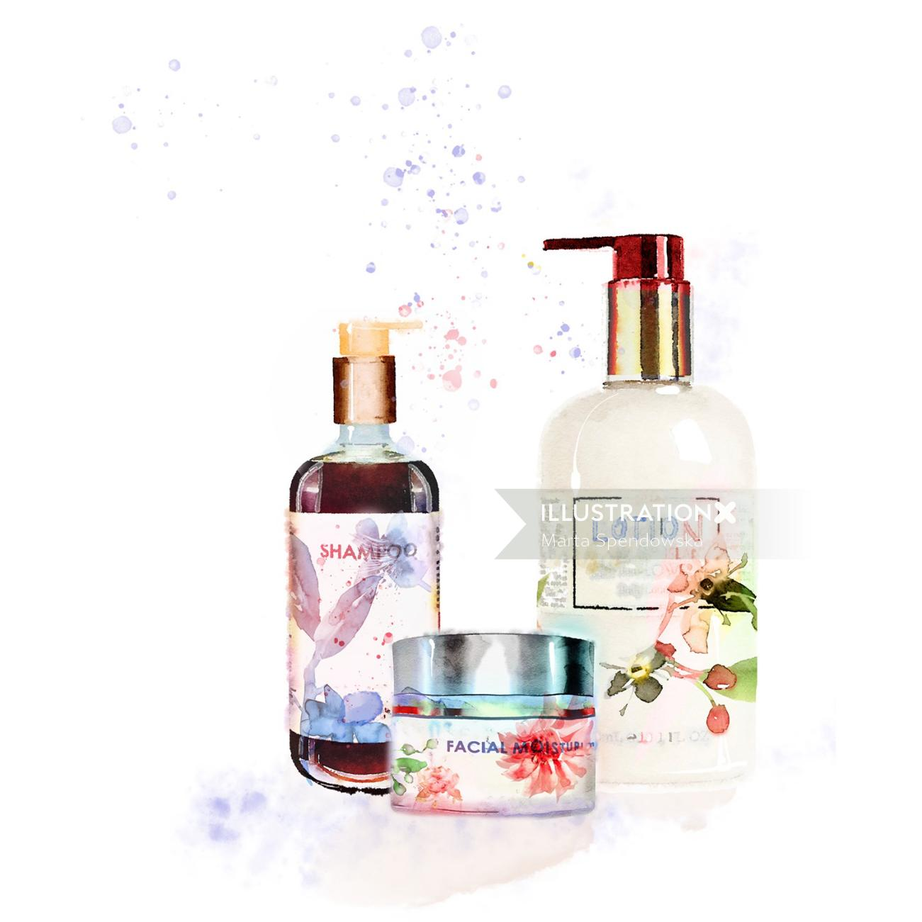 Shampoo bottles painting by Marta Spendowska