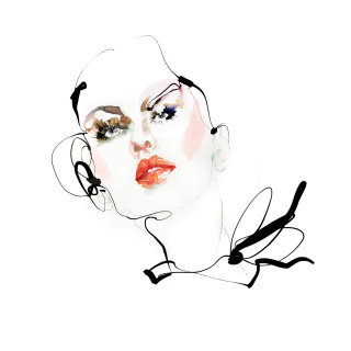 Watercolor painting of beautifull girl