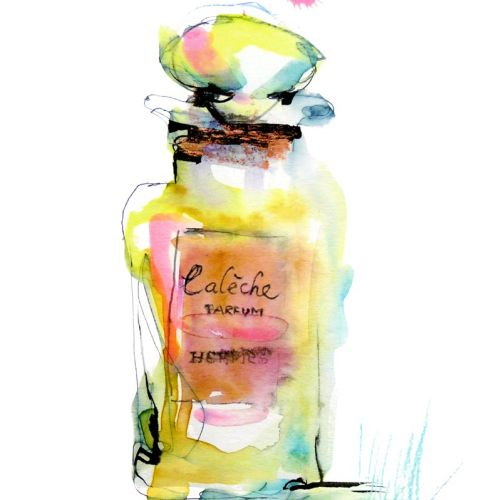Watercolor of perfume bottle