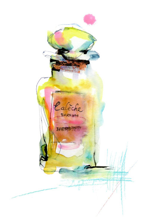 Watercolor of perfume bottle
