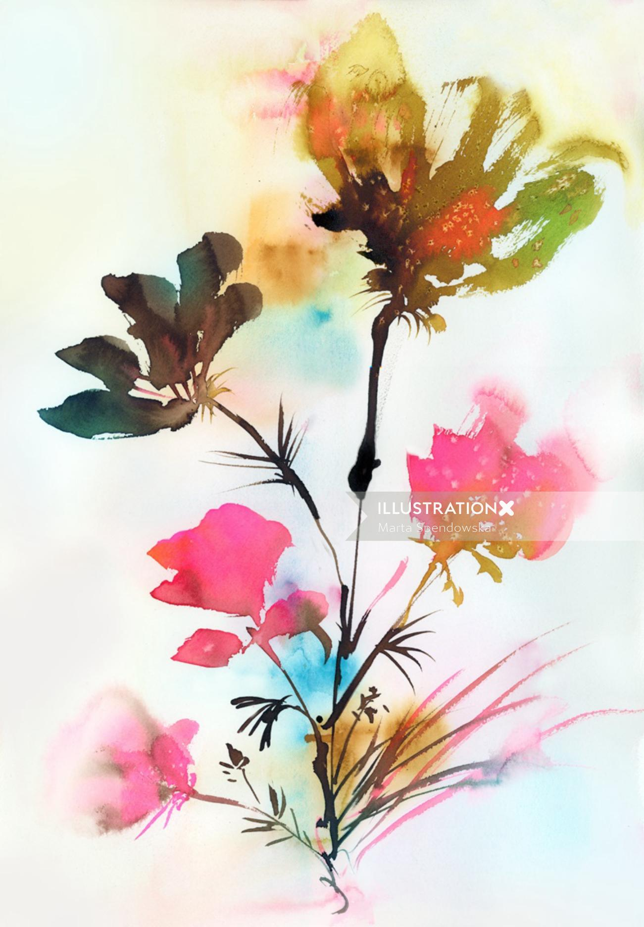Colorful water paint illustration of flowers
