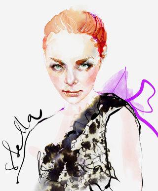 Portrait fashion illustration of a lady by Marta Spendowska