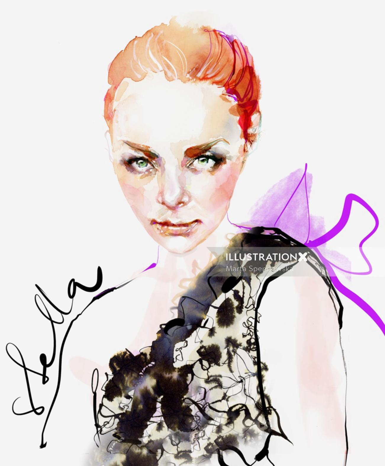 Portrait fashion illustration of a lady by Marta Spendowska