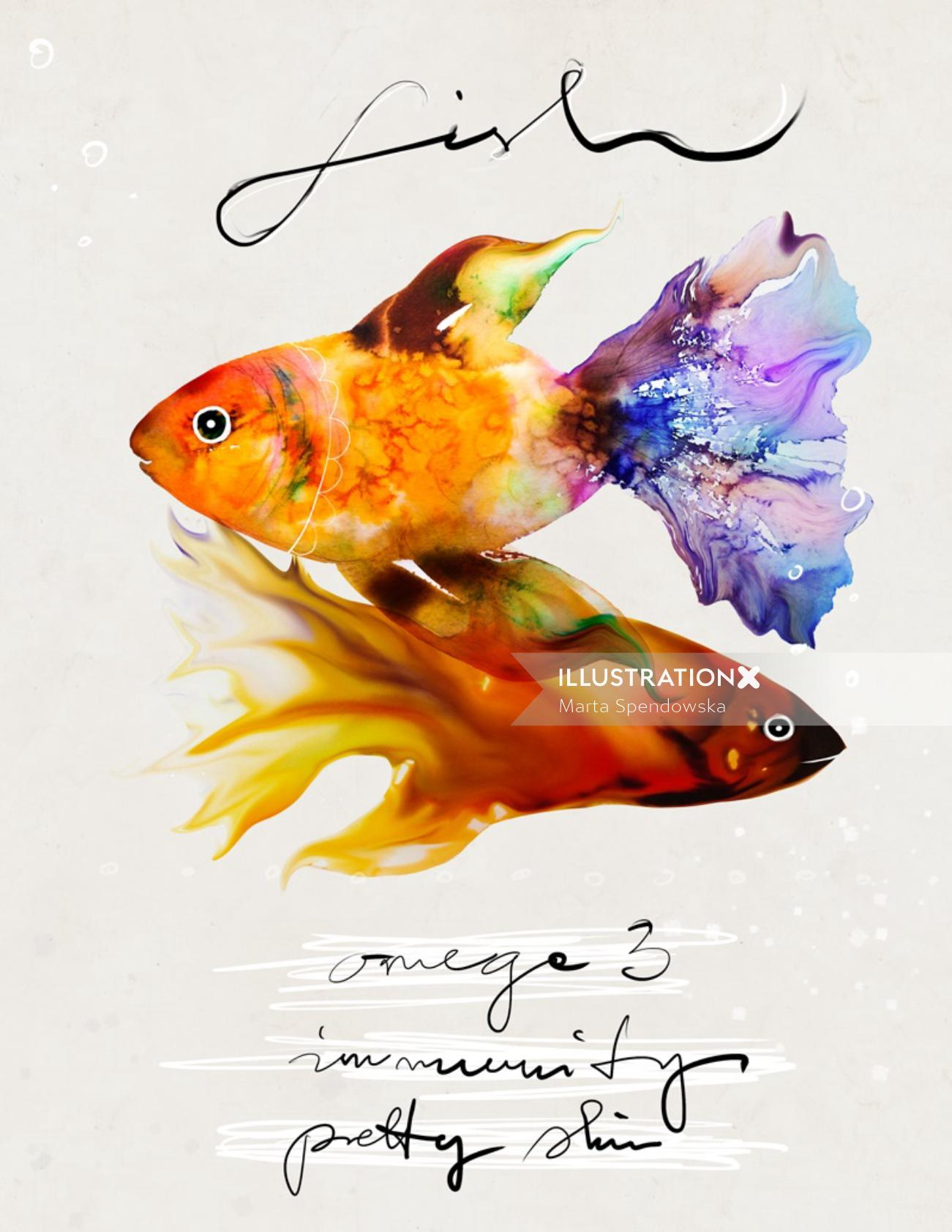 Aquarium fishes illustration by Marta Spendowska