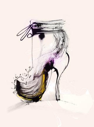 Water color of lady heel