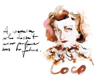 Coco Chanel Portrait in Watercolor