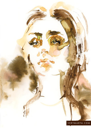 Water color of Sharon Tate