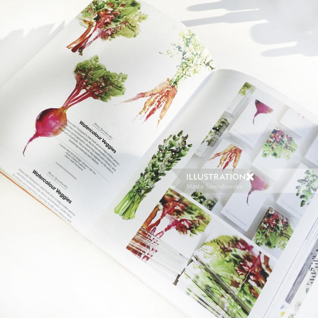Watercolor veggies by Marta Spendowska
