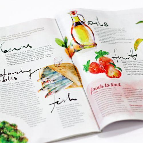 Watercolor of veggies food