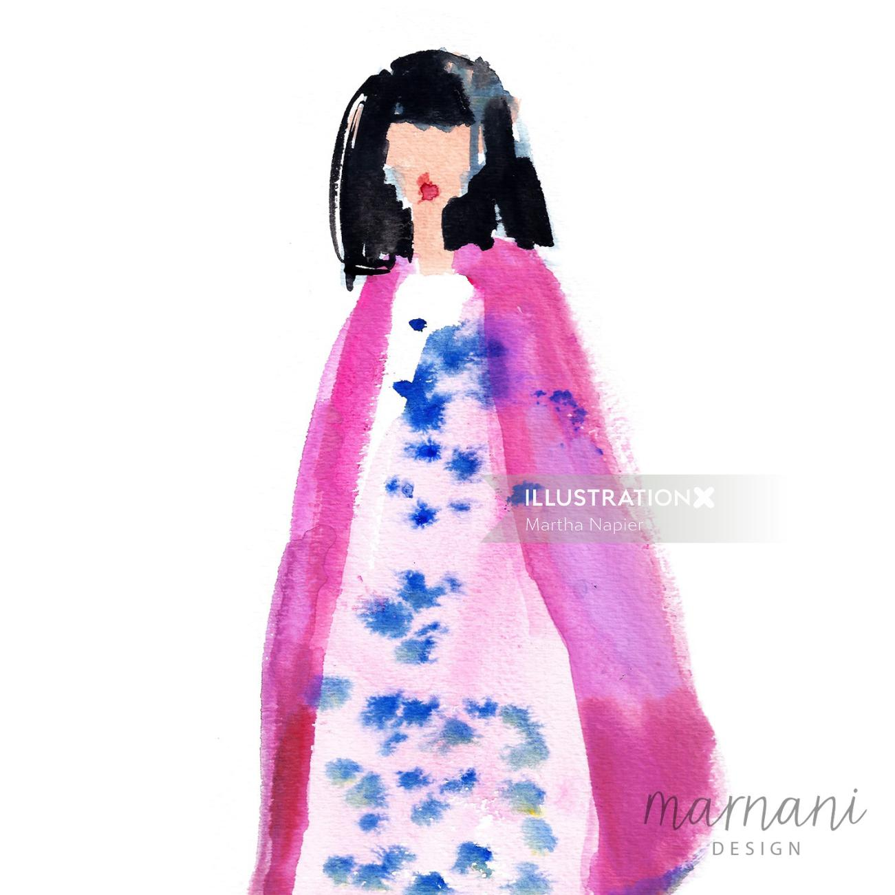 Martha Napier's fashion illustration for Gary pepper girl