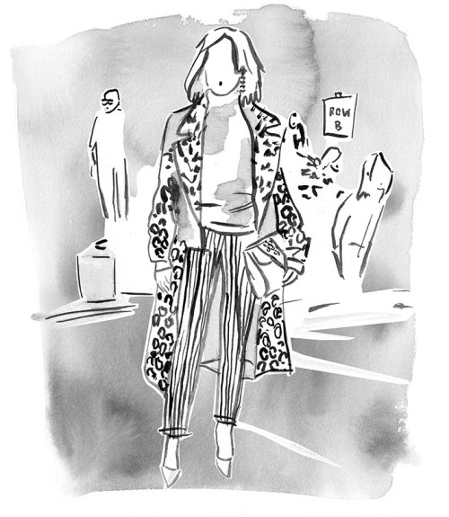 Black and White women fashion illustration for Jason Wu show